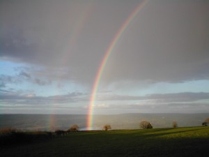 A rare double rainbow pictured over the Yeo Valley